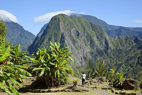 Piton d 'Enchaing peak in the Cirque de Salazie caldera in Hell-Bourg, Reunion island, Indian Ocean