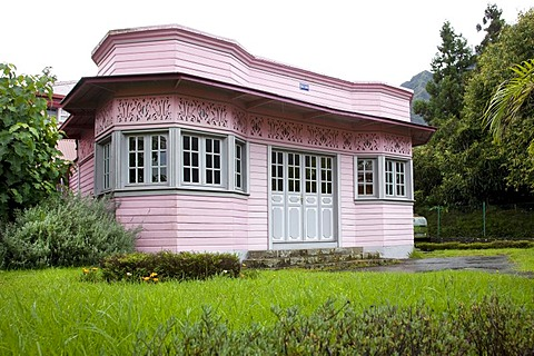 Creole architecture in Cilaos, Cirque de Mafate caldera, La Reunion island, Indian Ocean