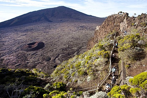 Enclos Fouque caldera with the small Formica Leo volcano and the Piton de la Fournaise volcano, La Reunion island, Indian Ocean