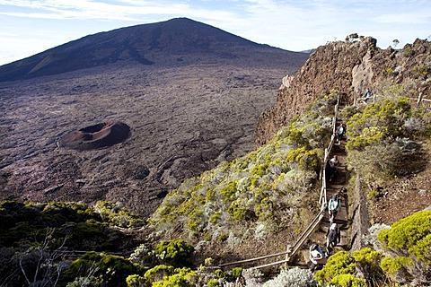 Enclos Fouque caldera with the small Formica Leo volcano and the Piton de la Fournaise volcano, La Reunion island, Indian Ocean