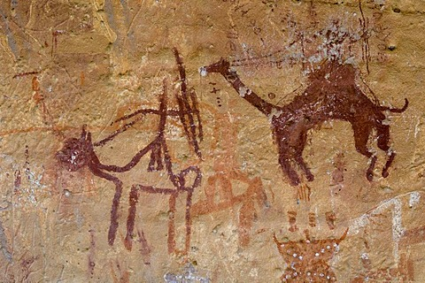 Prehistoric rock paintings, Akakus, Acacus Mountains or Tadrart Acacus, Sahara desert, Fezzan, Libya, North Africa
