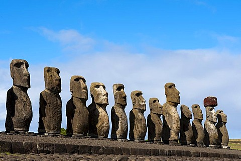 Moai statues, Ahu Tongariki, Rapa Nui or Easter Island, Chile, South America