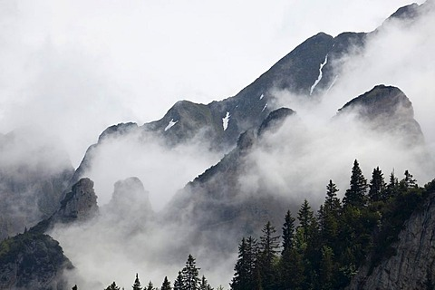 Dramatic fogs in the Alps near the Churfirsten mountains, Switzerland, Europe