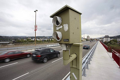 Speed camera on Europabruecke bridge, Koblenz, Rhineland-Palatinate, Germany, Europe