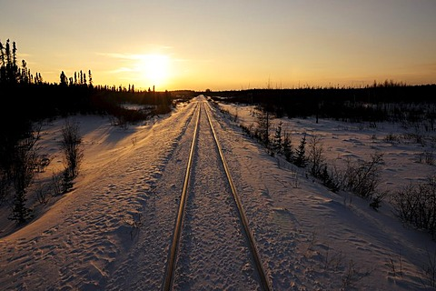 Railway tracks of the railway line between Winnipeg and Churchill, Manitoba, Canada