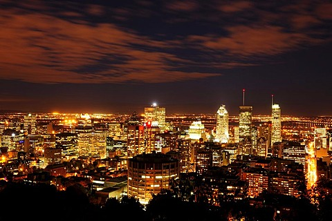 Montreal at night, view from Mont Royal, Quebec, Canada