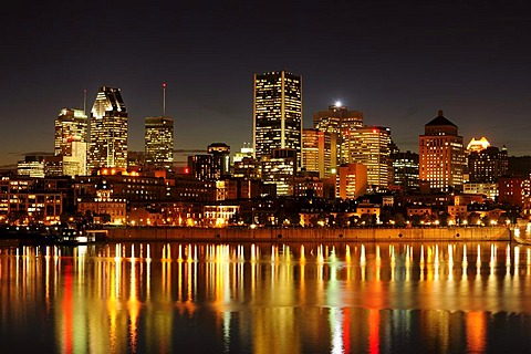 Skyline of Montreal with the harbour and the St. Lawrence River, Montreal, Quebec, Canada