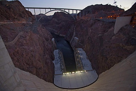 The Hoover Dam the US-93 highway bypass above the Colorado River, Boulder City, Nevada, USA
