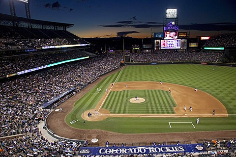 The Colorado Rockies play the Washington Nationals in a baseball night game at Coors Field, Denver, Colorado, USA