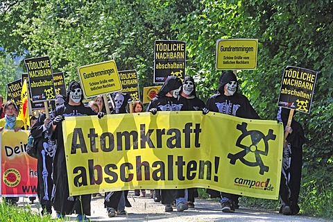 Anti nuclear power demonstration at the Gundremmingen nuclear power plant, the most powerful German nuclear power plant, Gundremmingen in Guenzburg, Bavaria, Germany, Europe