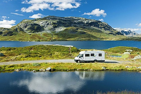 Campervan, camping in the mountains at lake Stavatn, Telemark, Norway, Europe
