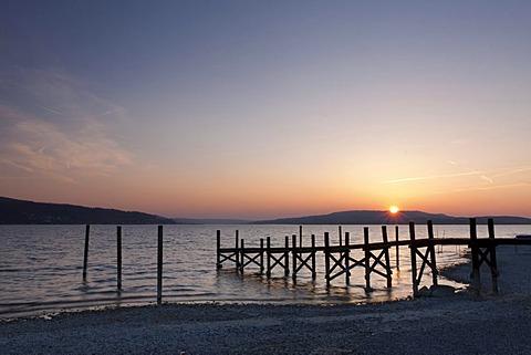 Jetty sunset, Reichenau island, UNESCO World Heritage Site, Landkreis Konstanz county, Baden-Wuerttemberg, Germany, Europe