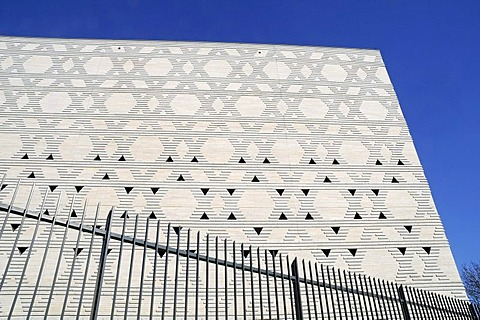 Stars of David, facade, fence, New Synagogue, Bochum, Ruhrgebiet area, North Rhine-Westphalia, Germany, Europe