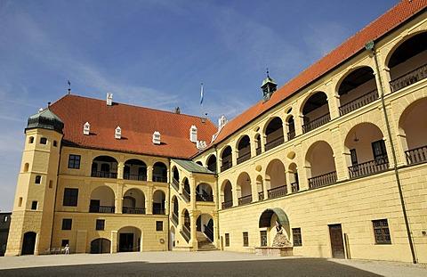 Inner courtyard, Burg Trausnitz Castle, Landshut, Lower Bavaria, Bavaria, Germany, Europe