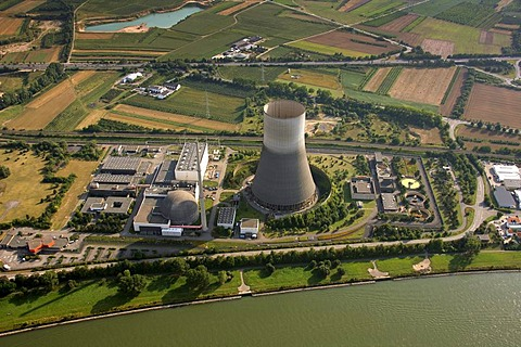 Aerial view, Muelheim-Kaerlich Nuclear Power Plant on the Rhine River, near Koblenz, Rhineland-Palatinate, Germany, Europe