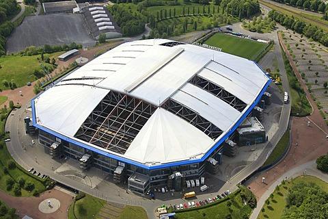 Aerial view, Veltins-Arena football stadium, roof of the Arena AufSchalke stadium being repaired, ripped canvas roof, Gelsenkirchen, Ruhr area, North Rhine-Westphalia, Germany, Europe