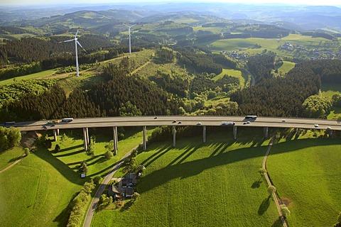 Aerial view, motorway bridge, A45 motorway, also known as Sauerlandlinie motorway, Gummersbach, North Rhine-Westphalia, Germany, Europe