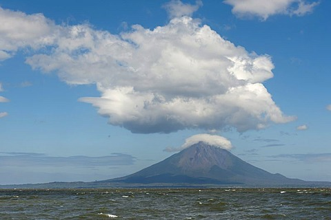 Volcanic island of Ometepe and the stratovolcano Volcan Concepcion, 1610m in Lago de Nicaragua, Nicaragua, Central America