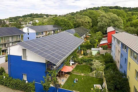 Passive solar houses with solar collectors on the roofs, by architect Rolf Disch, Vauban district, Freiburg im Breisgau, Baden-Wuerttemberg, Germany, Europe
