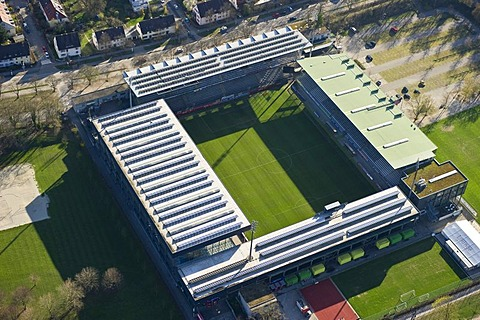 Aerial view, solar panels on the roof of Badenova-Stadion stadium, Freiburg im Breisgau, Baden-Wuerttemberg, Germany, Europe