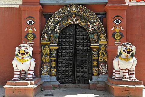 Lion statues at the entrance of the Shiva-Parvati Temple, Durbar Square, Kathmandu, Nepal, Asia