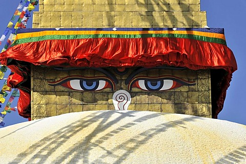 Boudha or Bodnath or Boudhanath Stupa, painted eyes, colorful prayer flags, Tibetan Buddhism, Kathmandu, Kathmandu Valley, UNESCO World Heritage Site, Nepal, Asia