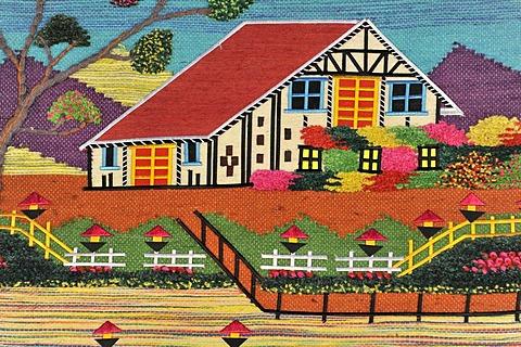 House on a tapestry, souvenir, Kathmandu, Kathmandu Valley, Nepal, Asia