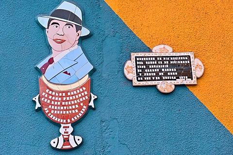 El Caminito street, Carlos Gardel, Tango Singer, La Boca district, Buenos Aires, Argentina, South America