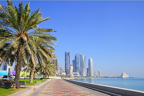 Doha Corniche and the skyscrapers of the Business District, West Bay area, Doha, Qatar