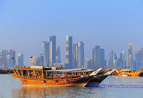 Dhows in front of the skyline of the West Bay area, business district, Doha, Qatar, Middle East