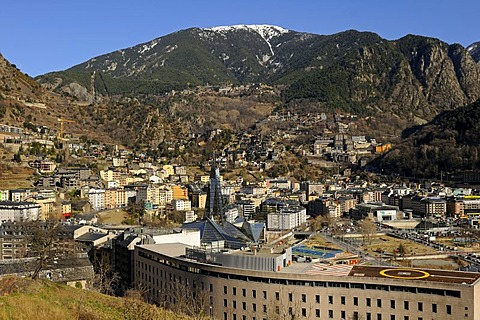 View over Escaldes-Engordany with the Caldea Thermal Spa as a landmark, Principality of Andorra, Europe