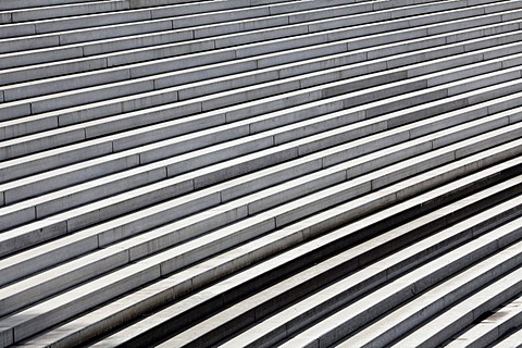 The steps of the great architecture project Eurogate, Innenhafen harbour, Duisburg, Ruhrgebiet area, North Rhine-Westphalia, Germany, Europe