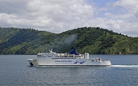 Ferry in Queen Charlotte Sound near Picton, South Island, New Zealand