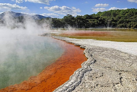 Champagne Pool, edge, coloration through antimony sulfides, Wai-O-Tapu Thermal Wonderland, Roturoa, North Island, New Zealand