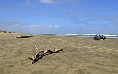 Ninety Mile Beach, passable at low tide by cars, Hukatere, North Island, New Zealand