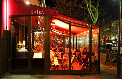 Night shot, bar, cafe and restaurant Dalea, Gaite theater district, Paris, France, Europe