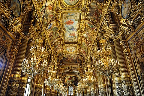 Interior, Grand Foyer with ceiling painting by Paul Baudry with motifs from musical history, Opera Palais Garnier opera, Paris, France, Europe