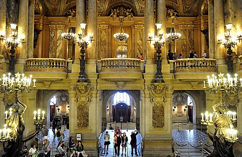 Interior, foyer, Opera Palais Garnier opera, Paris, France, Europe
