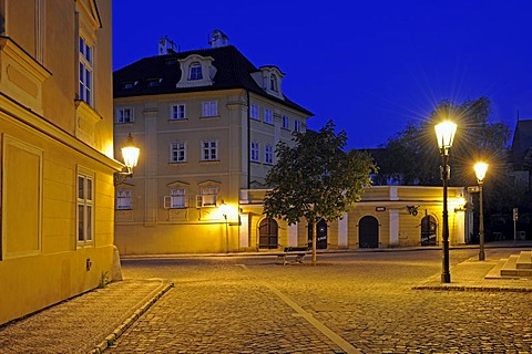 Typical street with historic streetlamps at night, Mala Strana, Prague, Czech Republic, Europe