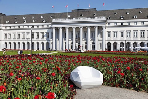 Artistically designed seat in front of tulip flowerbed and the Electoral Palace, Bundesgartenschau, BUGA 2011, federal garden show, Koblenz, Rhineland-Palatinate, Germany, Europe