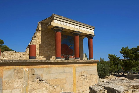 Excavation site, Minoan palace at Knossos, Heraklion, Crete, Greece, Europe