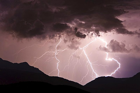 Thunderstorms in the Upper Adige region, Dolomites, South Tyrol, Italy, Europe