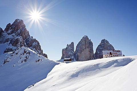 At the Drei Zinnen hut, Alta Pusteria high valley, Sexten, Sesto, Dolomites, Mt Drei Zinnen, Mt Tre Cime, and Mt Paternkofel, South Tyrol, Italy, Europe