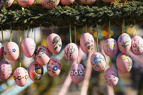 Easter eggs, Easter fountain, Bieberbach, Franconian Switzerland, Upper Franconia, Franconia, Bavaria, Germany, Europe - 832-83717