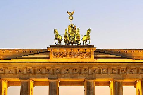 The Quadriga on the Brandenburg Gate in Berlin, Germany, Europe