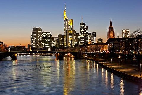 View of the skyline with Commerzbank, ECB, Hessische Landesbank, Frankfurt Cathedral, Opernturm skyscraper, Deutsche Bank, vorn the Alte Bruecke bridge, Frankfurt, Hesse, Germany, Europe