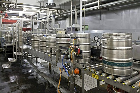 Beer kegs being filled on a conveyor belt, Binding brewery, Frankfurt, Hesse, Germany, Europe