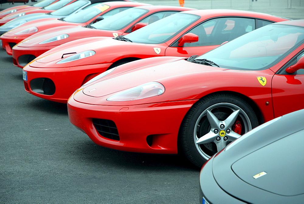 Ferrari cars in a car park, Misano World Circuit, Italy, Europe