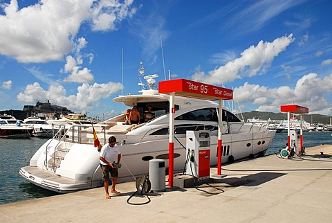 Boat and yacht petrol station of Cepsa Elf in the port of Ibiza, Spain, Europe