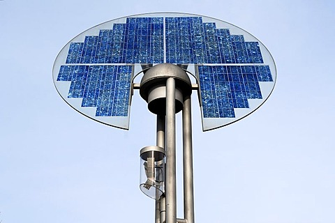 Solar-powered street lamp, photo-voltaic system, Herbolzheim, Baden-Wuerttemberg, Germany, Europe - 832-84558